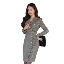 2018 Winter Ladies Office Dress Party Dress Plaid Long Sleeve Ruffles Bodycon Dress Double-Breasted Pencil Dress стоимость
