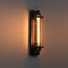 Retro Black Flute Wall Candle Holder, Antique Lamp Industrial Style Metal Corridor Lighting Hallway Balcony Gal