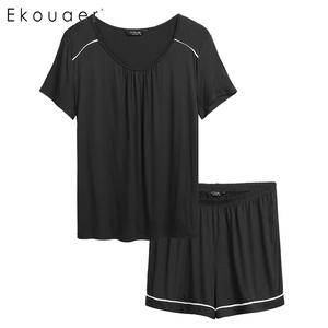 Image 2 - Ekouaer Plus Size Pijamas Conjunto Pijamas Das Mulheres de Manga Curta Cintura Elástica Shorts Pijamas Pajama Set Duas Peças Loungewear Terno
