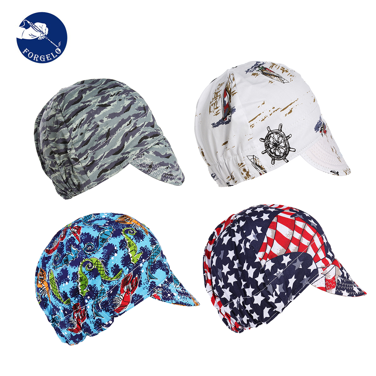 FORGELO Cotton Welding Cap Hat Welders Retardant Sweat Adjustable Application To Welding Safety Protective Welding Helme