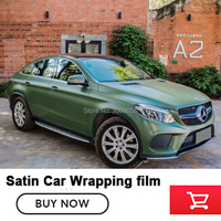 New arrival satin series Military green wrapping film amy green car vinyl wraps With Air Bubble Free Glue upgraded