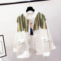 Boho Camouflage Jacket Women Sequins Shinny Lace Up Denim Coat Pockets Bomber Long Sleeve Coats