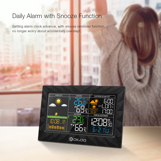LCD Color Weather Station + Outdoor Remote Sensor Thermometer Humidity Snooze Clock Sunrise Sunset Calendar 2