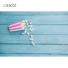 Laeacco Blue Wooden Board Backdrop Popcorn Baby Portrait Photography Background Photographic Backdrops For Photo Studio