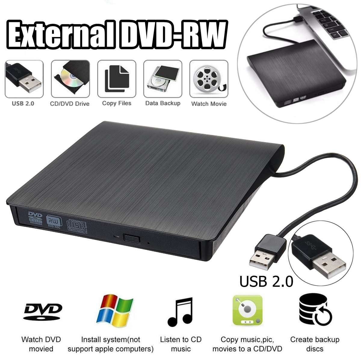 External DVD CD Reader Optical Drive USB 2.0 DVD-RW CD-RW Player Burner Slim Portable Reader Recorder Portatil For Laptop PC
