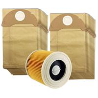 Hot TOD For Karcher Wet&Dry WD2 Vacuum Cleaner Filter And 20 Dust Bags