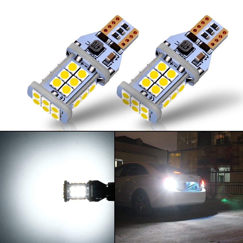 1300 Lumens Error Free W16W T15 LED Bulbs 3030 24SMD For Reverse Lights Back Up Lights 6500K White (Pack Of 2)