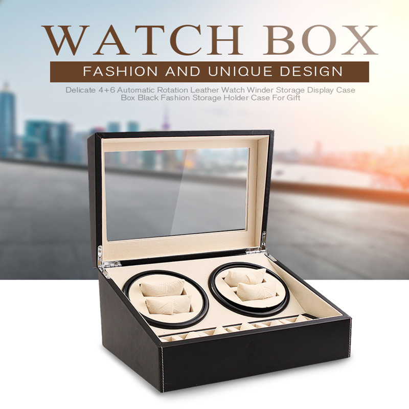 6+4 Automatic Mechanical Watch Winders Black PU Leather Storage Box Collection Double Watch Display Jewelry Winder Box US Plug | Watch Boxes