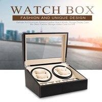 6+4 Automatic Mechanical Watch Winders Black PU Leather Storage Box Collection Double Watch Display Jewelry Winder Box US Plug