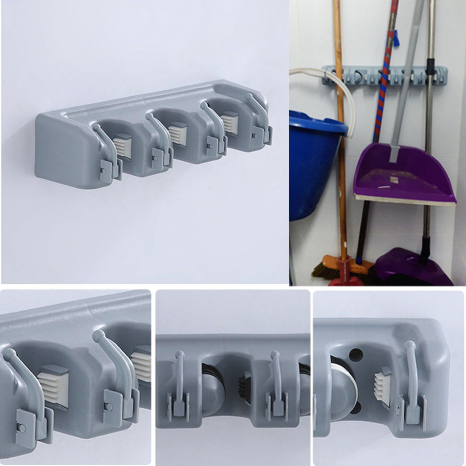 Plastic Wall Broom Holder With PP Hooks Used As Garden Tool And Garage Organizer 3