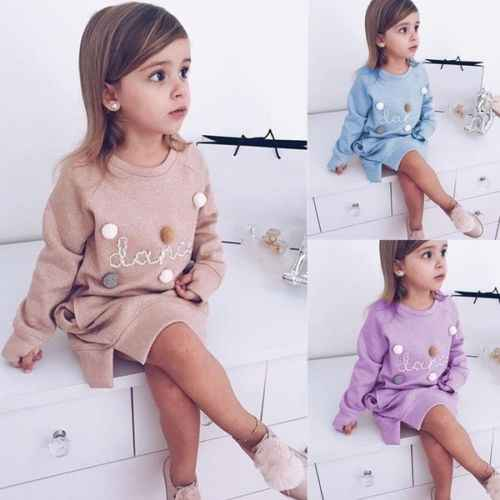 Cute Toddler Kids Girl Sweatshirt Dress Fashion New Long Sleeve Cartoon Princess Party Pageant Dresses Girls Casual Dresses 1-5T