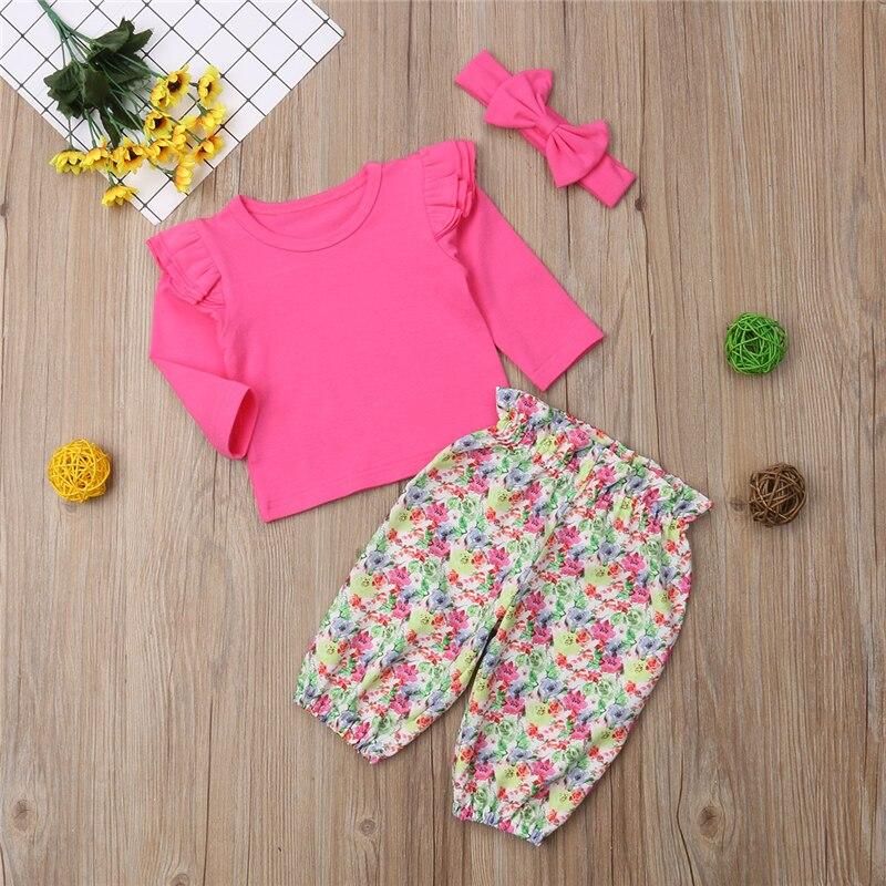 От 0 до 4 лет, милый топ с цветочным принтом для маленьких девочек, блузка + штаны, милая одежда, комплект одежды из 3 предметов