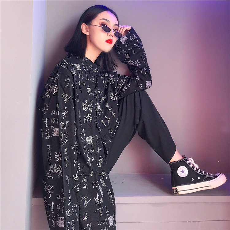 Chinese Retro Shirts Characters Printed Long Sleeve Loose Cardigan Blouse 2019 New Fashion Streetwear Shirts Femme Women's Clothing
