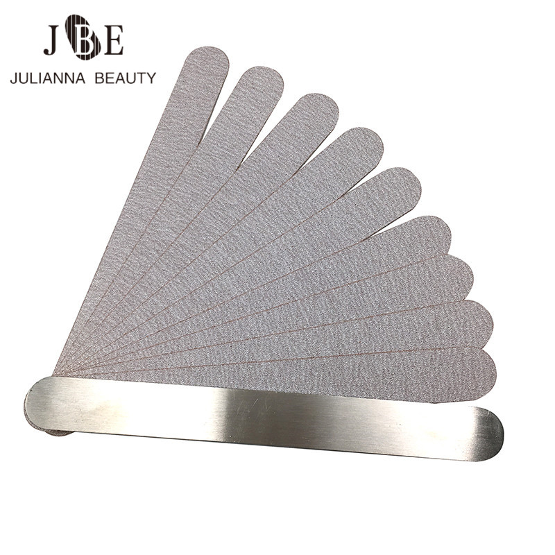 1 Set (10 Pcs) Grey Nail File Replacement Pads For Metal Nail File Disposale Sandpaper Pads Double Sided Nail Tool 80/100/180