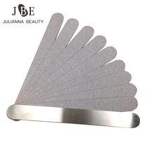 1 conjunto (10 pçs) almofadas de substituição de arquivo de unha cinza para arquivo de unhas de metal disposale almofadas de lixa dupla face ferramenta de unhas 80/100/180