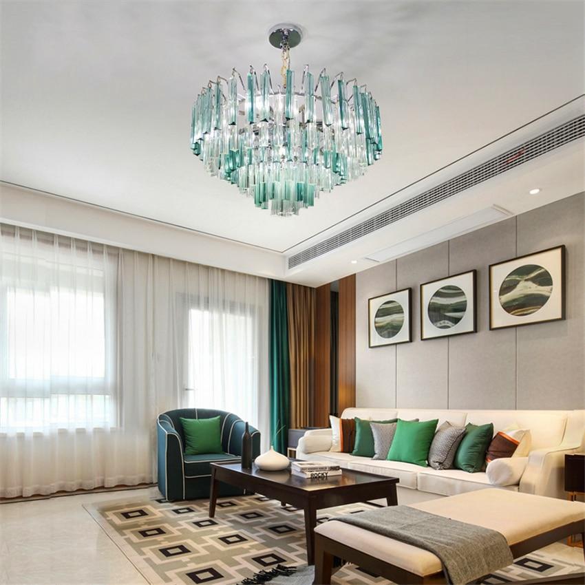Modern Crystal Chandelier Living Room Lustres De Cristal Decoration Tiffany Pendants Chandeliers Home Lighting Indoor Decor Lamp in Pendant Lights from Lights Lighting