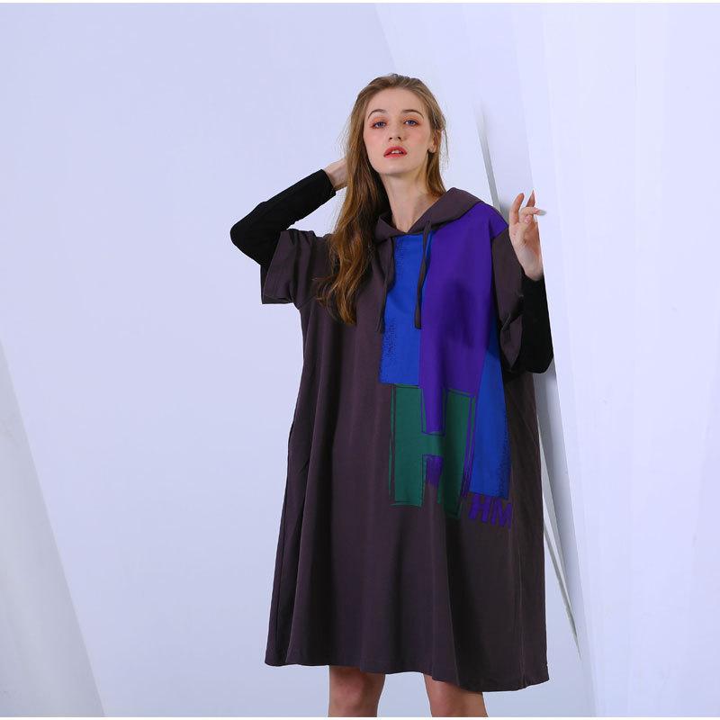 Femmes Taille Grande Black Pour Mode Faux Robe Deux Sweat 2019 À Manches Longues Yg302 gray Pièces Hoodies Lanmrem Imprimé Femelle Robes Nouvelle 4Eqx58nwCv