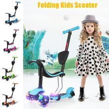 Adjustable Detachable Seat Scooter Push Rod Design Lightweight 3 LED Wheels Children Scooter Folding T-Bar Seat Scooter Outdoor