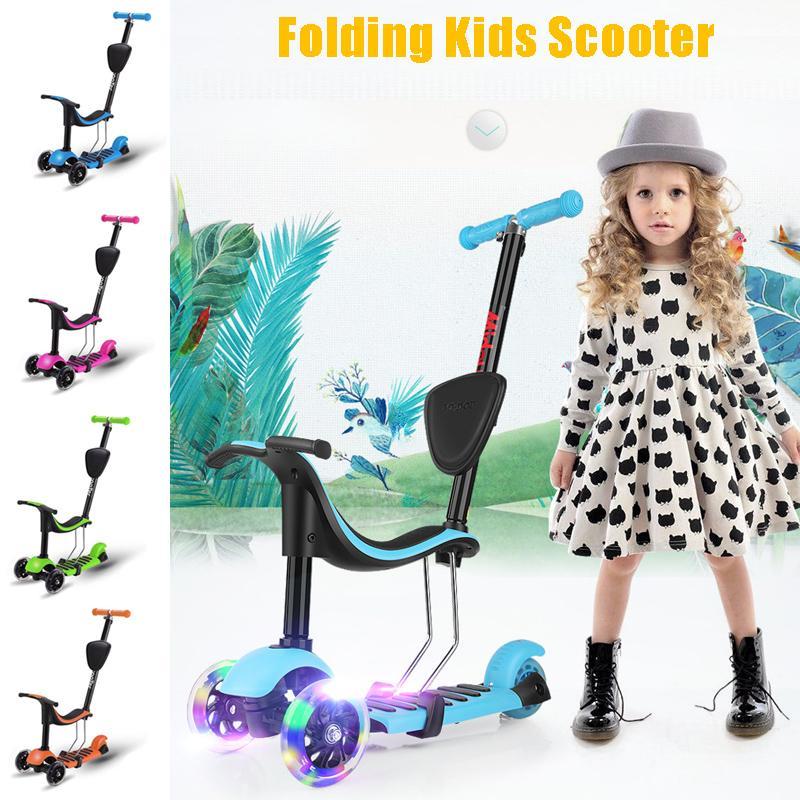 Réglable détachable siège Scooter poussoir Design léger 3 LED roues enfants Scooter pliant t-bar siège Scooter en plein air