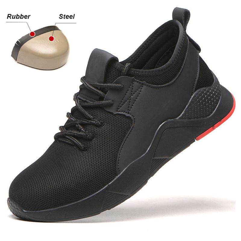 Lightweight Breathable Steel Toe Safety Shoes For Men Casual Sneakers Mesh Puncture Proof Boots Industrial Shoes CN Size 39-46