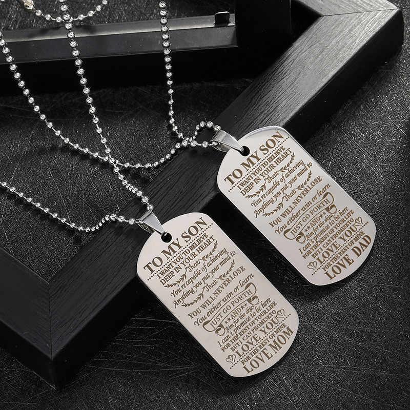 Collar para mi hijo, joyería familiar, collares militares de plata, regalo de cumpleaños para niños, collares largos para mamá y papá, collar llamativo