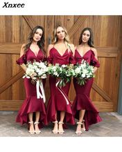 Xnxee 2019 Vestidos New Sexy Solid Red V-Neck Long Dress Women Winter Dresses Fashion Party Vestido De Fiesta