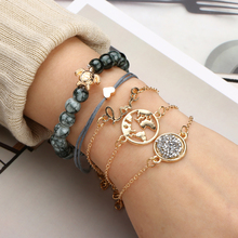 5pcs/set Elegant Hollow Lovely Map Sea Turtle Gold Color Bangle Stylish Weave Rope Bracelet Set Boho Jewelry Gift For Girlfriend stylish golden hollow rounded rectangle hasp bracelet for women