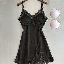 Женское нижнее белье с v-образным вырезом, ночное белье, сексуальная атласная пижама, мини-Кружевная сорочка с 2 хлопковыми вставками
