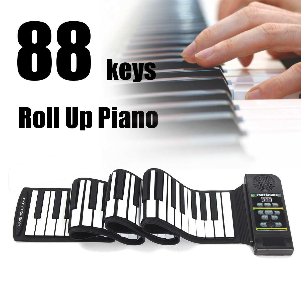 88 Rôle clé De Tonalité Numérique Électronique Souple Clavier Piano Silicon Flexible Roll Up Piano avec Haut-Parleur Enfants D'anniversaire cadeau