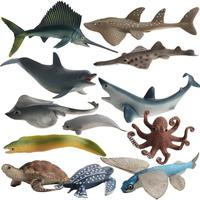 12PCS Action&Toys Figure Ocean Marine World Animal Sea Life Shark Whale Dolphin Fish Collection Model Doll For Children Gift