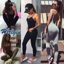 Summer Jumpsuits New Women Casual Sport Gym Running Fitness Jumpsuit Sleeveless O-Neck Skinny Solid Jumpsuit caged neck skinny solid jumpsuit