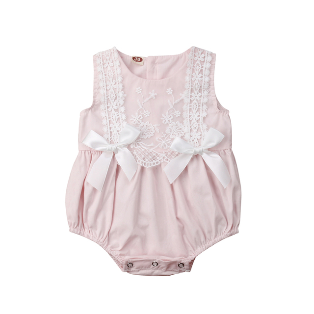 64adefc2054 2019 New Infant Newborn Baby Girls Clothing Lace Ruffles Rompers Jumpsuit  Cute Bow Sunsuit Summer Baby Girls Costume-in Rompers from Mother   Kids on  ...