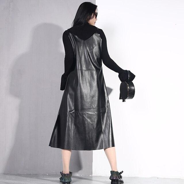 [EAM] 2019 New Spring Summer Spaghetti Strap Sleeveless Hem Vent Black Loose Pu Leather Dress Women Fashion Tide All-match JO2 5