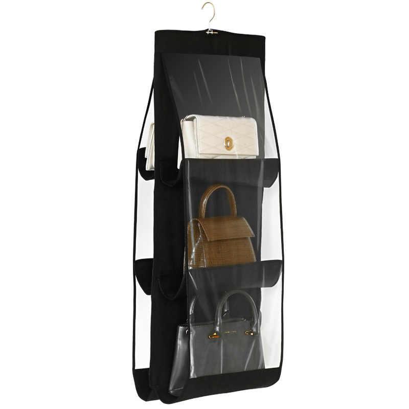 6 جيب طوي حقيبة للحمل 3 طبقات للطي الرف حقيبة محفظة حقيبة يد المنظم الباب النثرية جيب شماعات خزانة تخزين شماعات