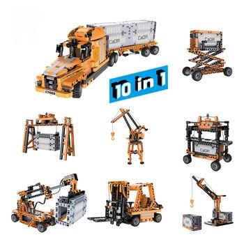 Juego de bloques de construcción de ingeniería de puerto de simulación doble e CaDA con sonido inteligente y Motor de inducción infrarroja juguete para niños