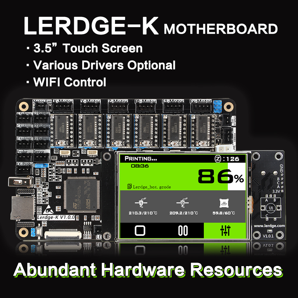 3DSWAY 3D Printer Motherboard LERDGE K ARM 32Bit Controller Board with 3 5 Touch Screen DIY