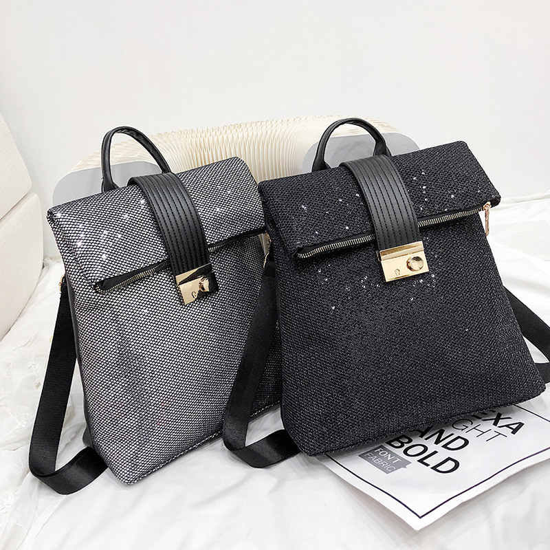 Europe And The United States Retro Soft Leather Sequins Backpack Women Women's Personality Lock Backpack Leisure Travel Mochila-in Backpacks from Luggage & Bags