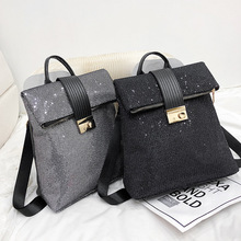 Europe And The United States Retro Soft Leather Sequins Backpack Women Womens Personality Lock Leisure Travel Mochila