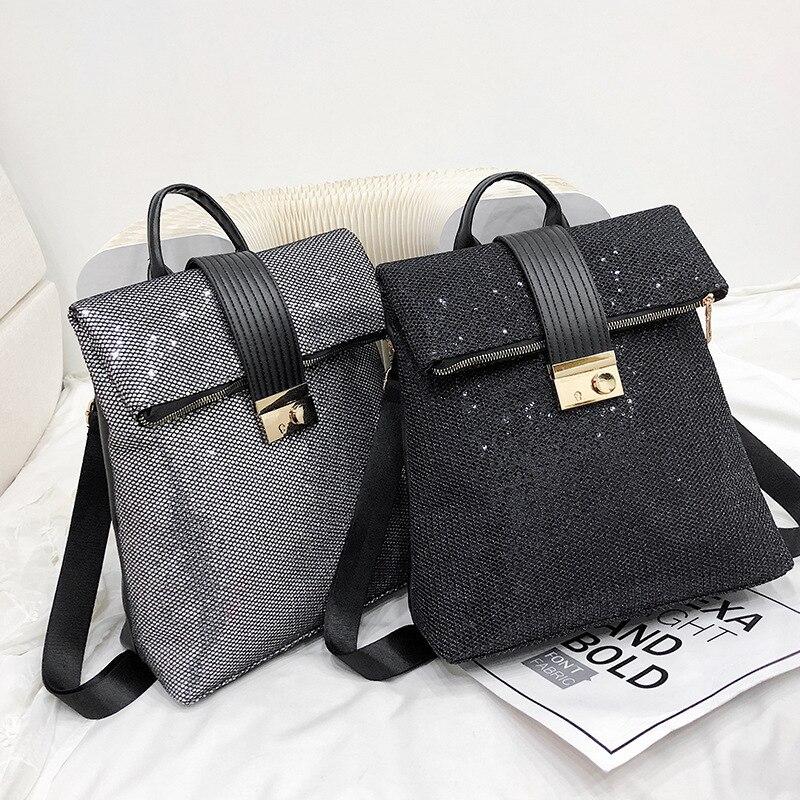 PU Retro Soft Leather Sequins Fashion Backpack Women Women's Backpack Leisure Travel Mochila School Bags High Capacity Big Girls