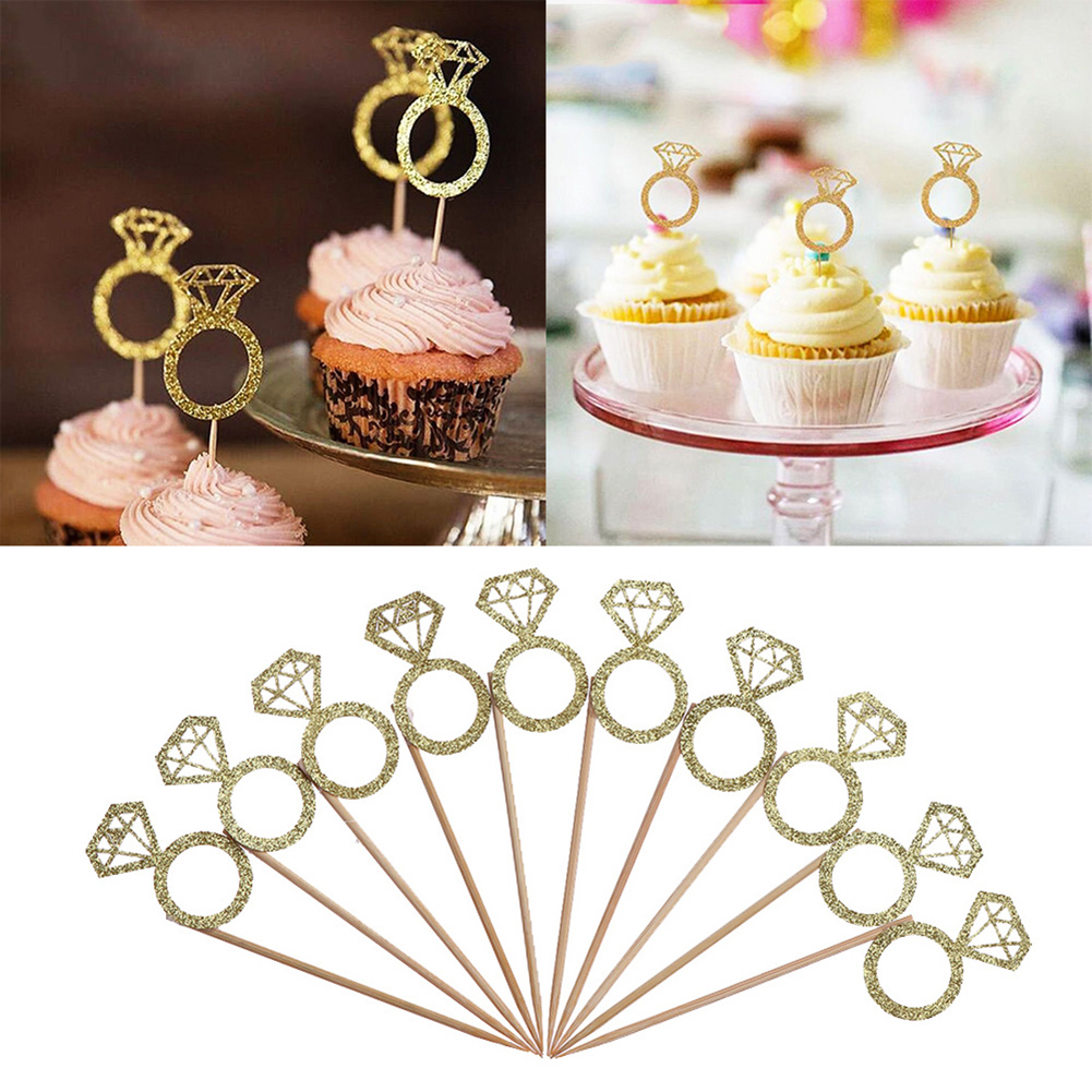 Us 127 24 Off10pcs Gold Glitter Diamond Ring Cupcake Toppers Wedding Cake Topper Decor Wedding Ceremony Birthday Party Supplies In Cake Decorating