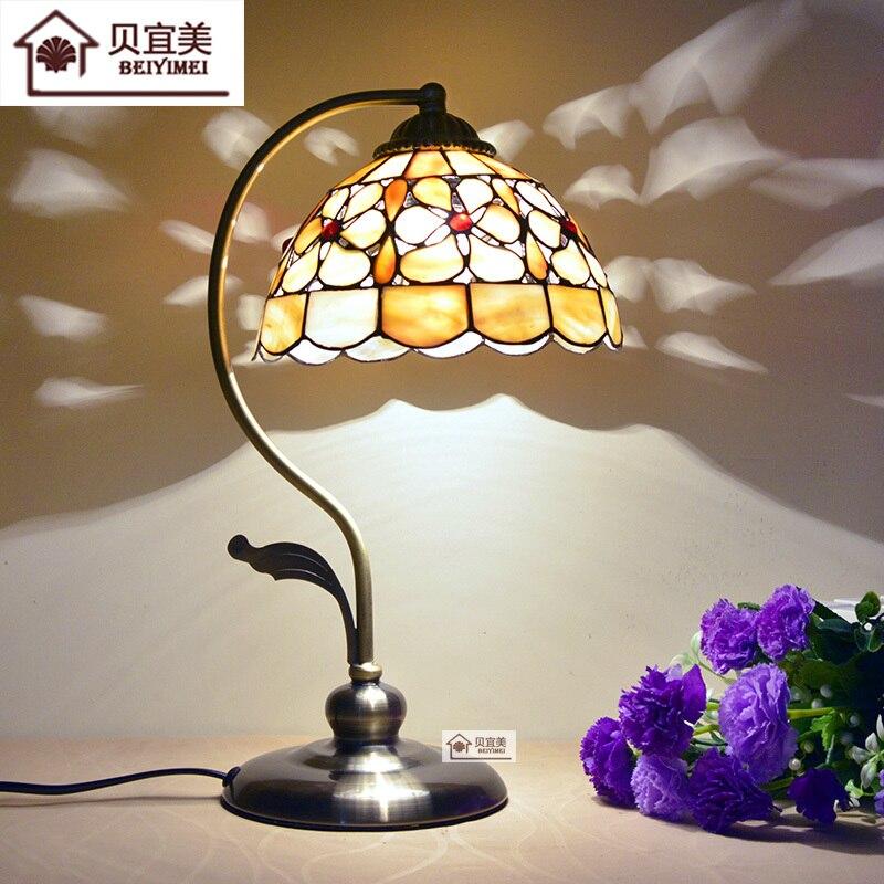 Lampe de Table méditerranéenne rétro perle fleur coquille lampe de chambre lampe à main