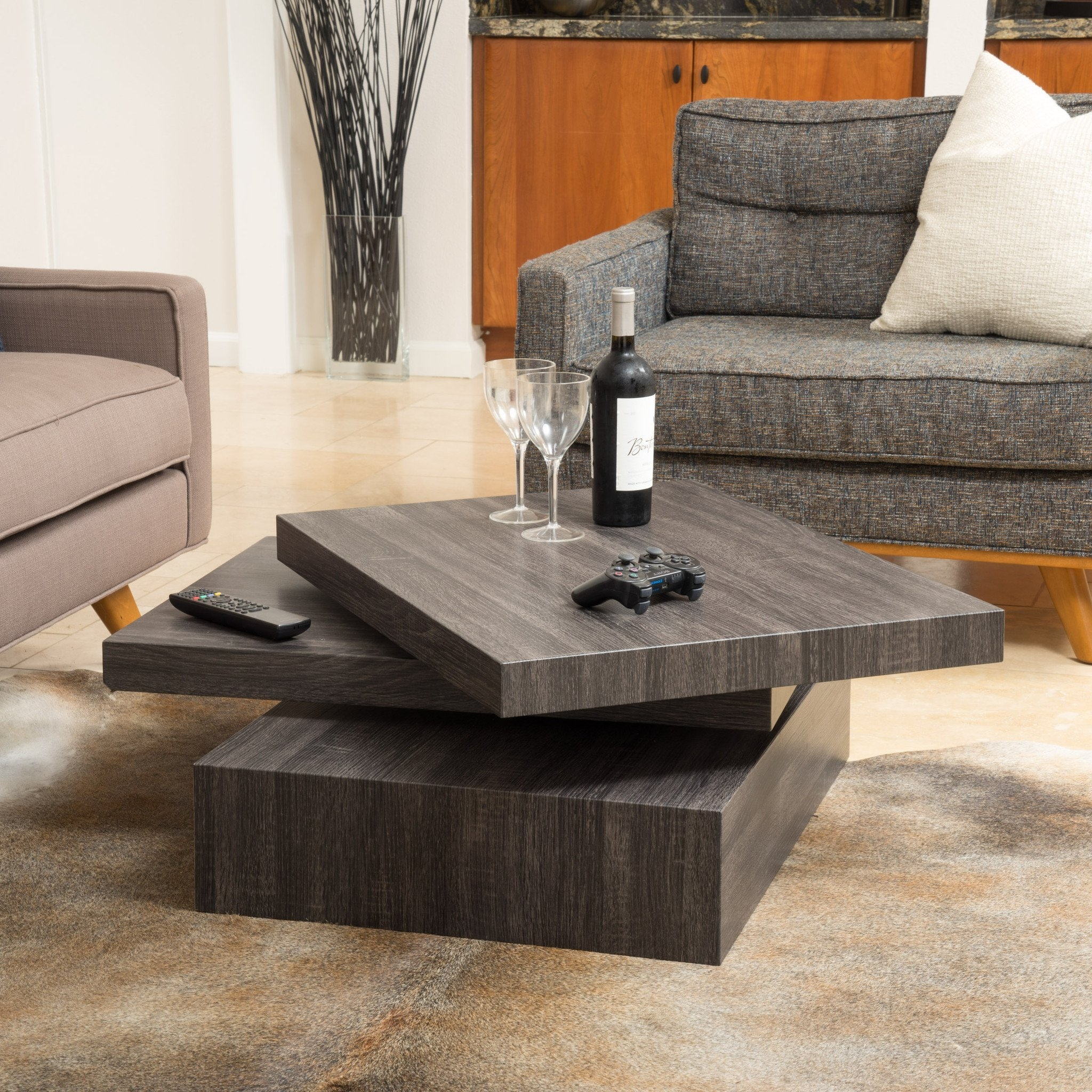 Haring Square Rotating Wood Coffee Table In Coffee Tables
