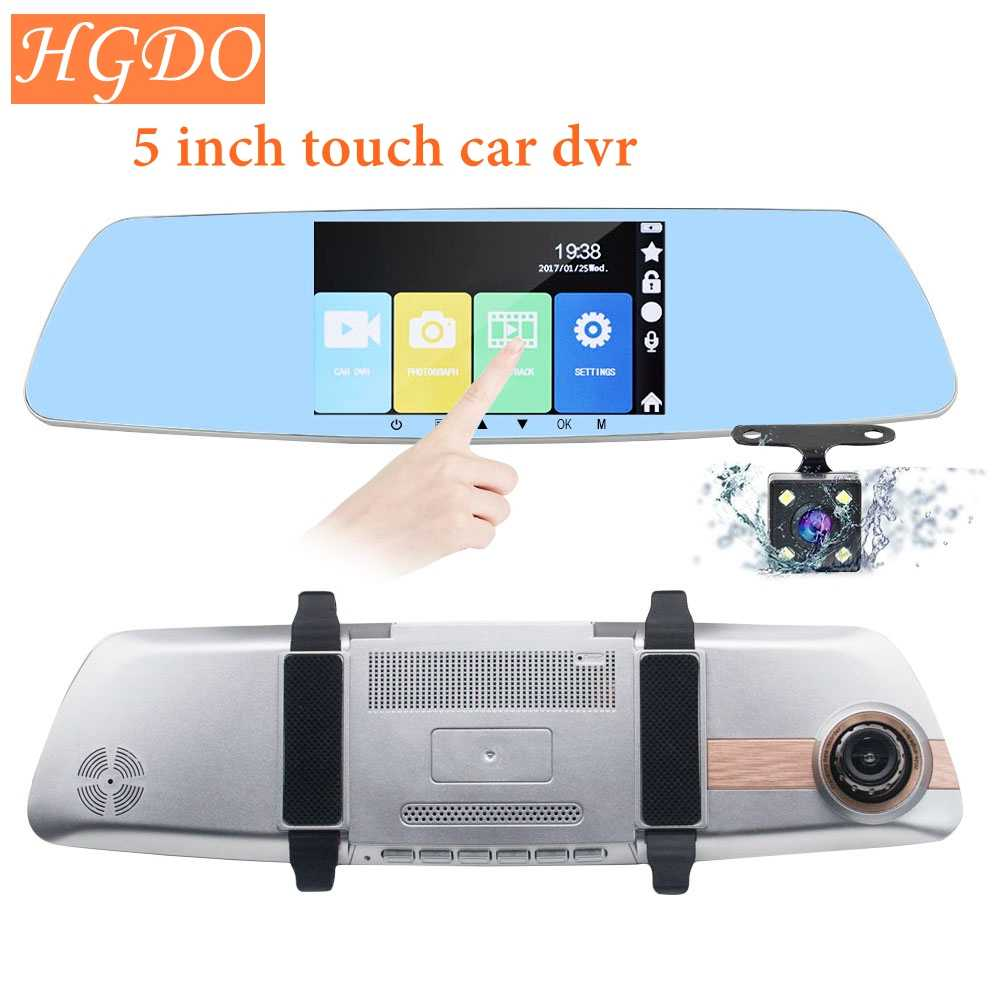 "HGDO car dvr camera 5"" Touch Screen rearview mirror auto dvrs dual lens recorder registrator FHD 1080p night vision dash cam"