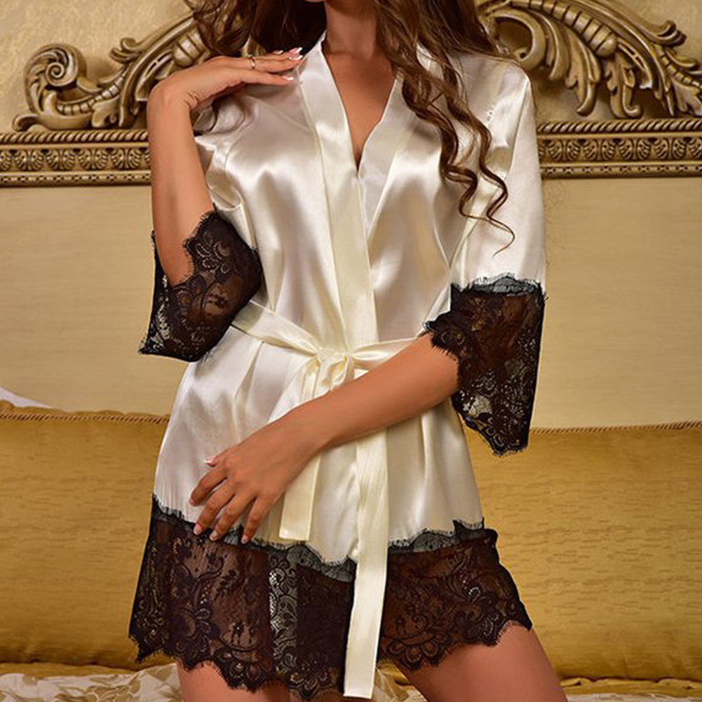 Women Long Bride Robe Satin Silk Night Dressing Gown Bathrobe Bridesmaid Kimono   Sleepshirt   Lace Sexy Babydoll