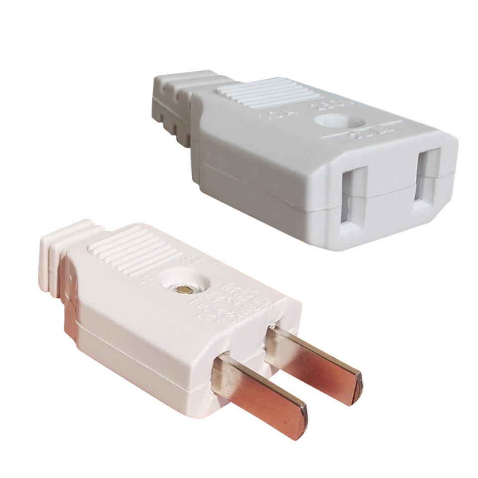 AU US American 2 Flat Pin AC Electric Power Male Plug Female Socket Outlet Adapter Wire Extension Cord Plug Adaptor