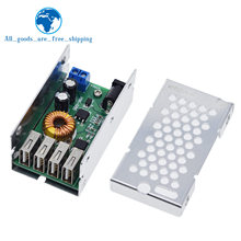 TZT DC DC 9V 12V 24V 36V To 5V Step Down Board 5A 4 USB Output Buck Converter Power Supply Module with Aluminum Shell For Phones