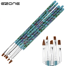 EZONE 5PCS Nylon Paint Brush Plastic Handel Printed Beautiful Flowers For Oil Watercolor Painting Different Shape Art Supply