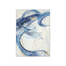 Abstract Canvas Painting Wall Art Pictures For Living Blue Room Home Decor Hand-Painted Color Oil on