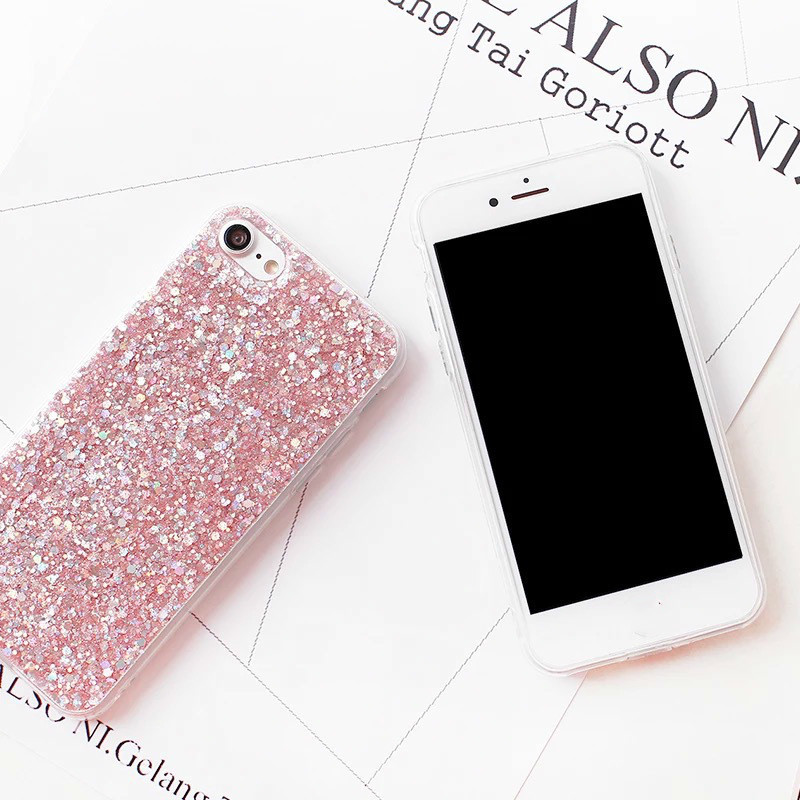 Luxury Gold Foil Bling Case for iPhone 7 Case Silicon Glitter Sequins Cover Fundas for iPhone 5s SE 6 6S 7 8 Plus X XR XS Max in Fitted Cases from Cellphones Telecommunications