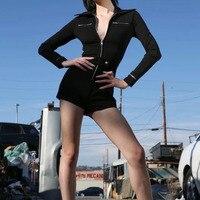 MUXU black bodysuit women rompers womens jumpsuit long sleeve casual streetwear macacao feminino combinaison femme playsuits